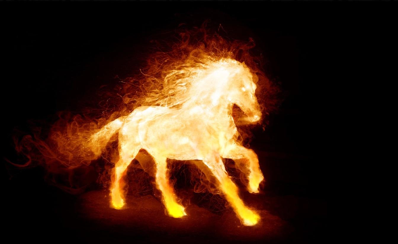 caballo en llamas imagen